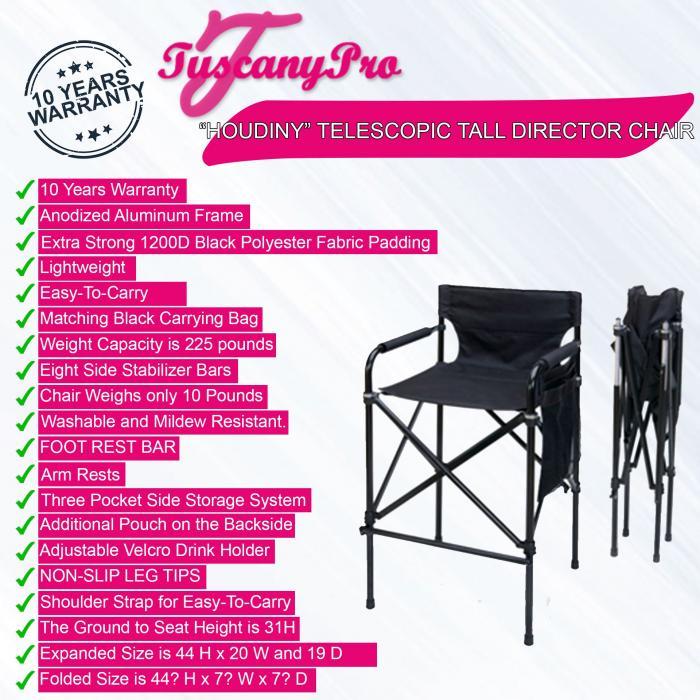 """Tuscany Pro """"HOUDINY"""" Telescopic Tall Director Chair"""