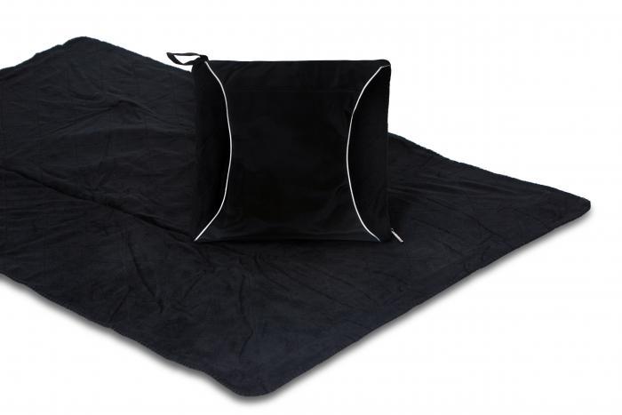 Picnic Plus Fleece Blanket Cushion, Black